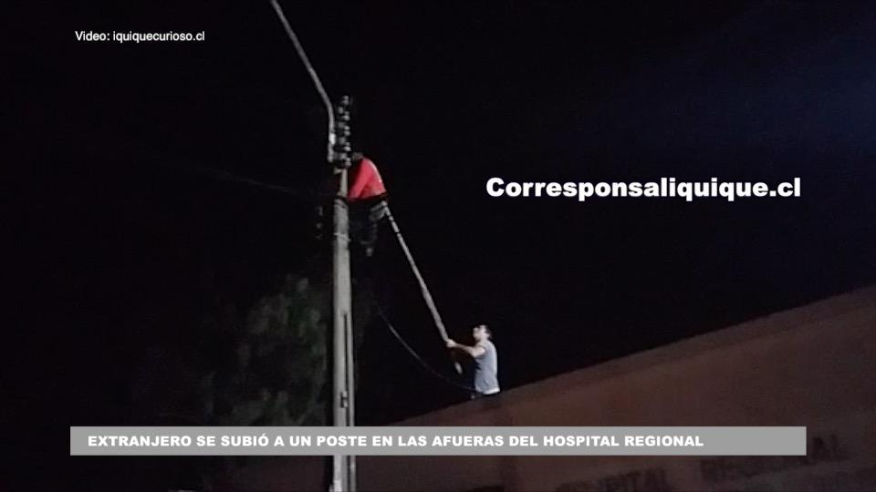 Photo of Extranjero se subió a un poste en las afueras del hospital