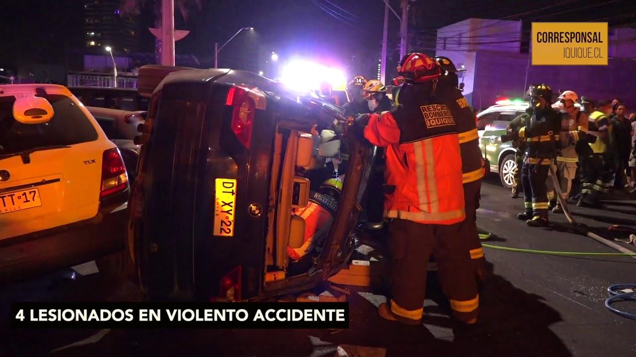 4 lesionados en violento choque con posterior volcamiento