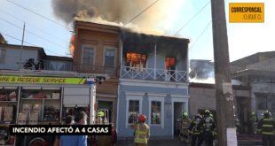 Incendio destruyó 4 viviendas en el sector centro
